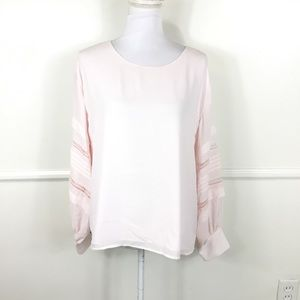 Vince Camuto Light Pink Long Sleeve Eyelet Blouse